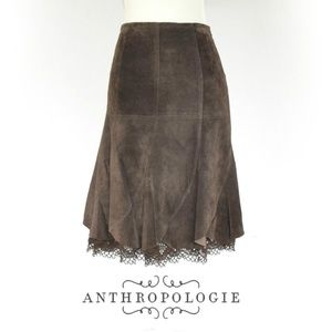 Odille Anthropologie Leather & Crochet Skirt 6